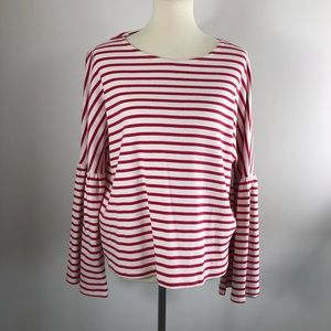 J Crew red striped T Shirt size XL NWT